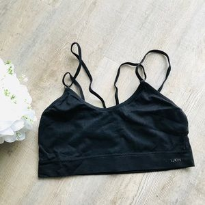 🎀Danskin Black Wireless Medium Bra Golden Hooks
